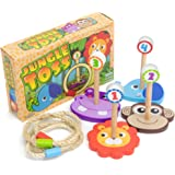 Jungle Ring Toss Game, Indoor/Outdoor Family Fun with 4 Wooden Zoo Animal Targets by Imagination Generation
