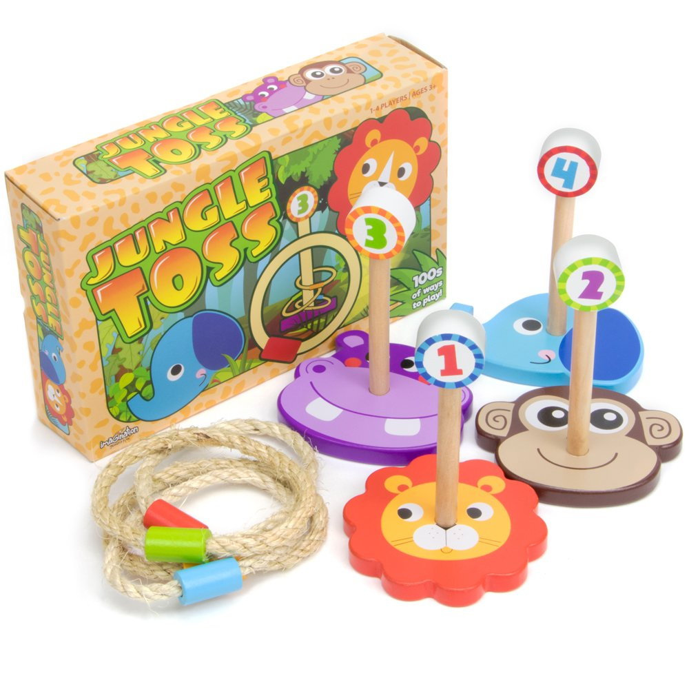 Imagination Generation Jungle Ring Toss Game, Indoor/Outdoor Family Fun with 4 Wooden Zoo Animal Targets by Imagination Generation