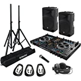 Mackie THUMP15 1000 Watt Loudspeaker Bundle with Denon DJ MC4000 DJ Controller and Accessories - Portable DJ Sound System (9 Items)