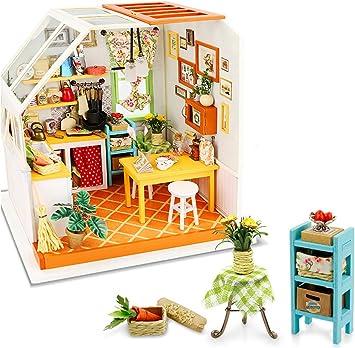 Oferta amazon: Rolife Kits de Cocina Miniatura para casa de muñecas con luz DIY Mini casa de Madera Modelo-Mejores Regalos para Adultos-Niños 14 15 16 17 18 años Arriba (Jason's Kitchen)