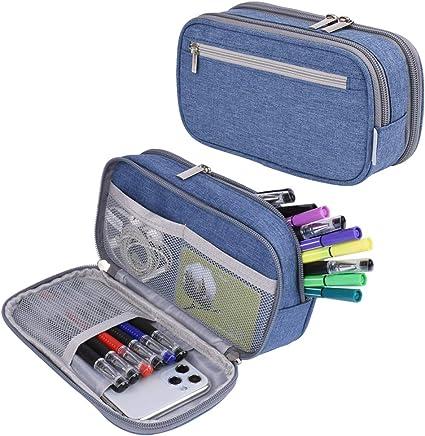 Estuche para lápices, de gran capacidad, estuche con grandes compartimentos para la escuela, estudiantes, niños, niñas y oficina, color azul: Amazon.es: Oficina y papelería