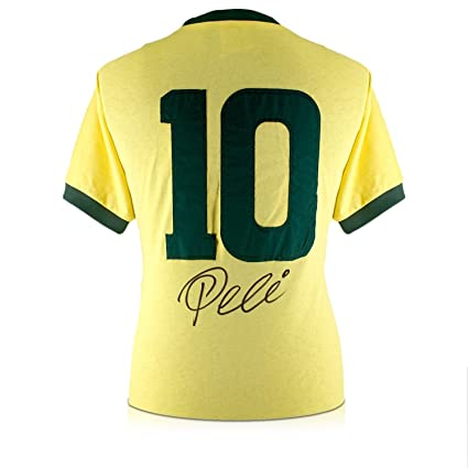 a47080009a9e0 Pele Number 10 Brazil Soccer Jersey Signed On The Back at Amazon's Sports  Collectibles Store