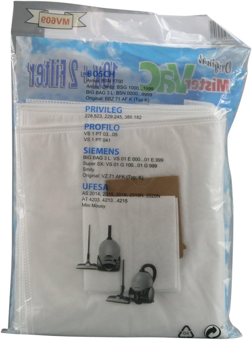 10x bolsa de vacío 2x filtro para Bosch Prilileg Profilo Siemens Ufesa: Amazon.es: Hogar