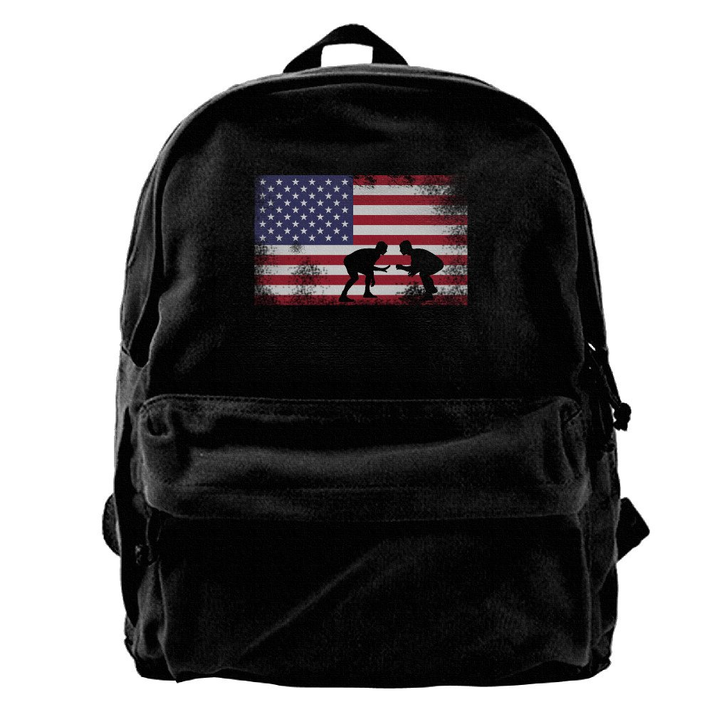 American Flag Wrestling Wrestling Gift Unisex Vintage Canvas Backpack Travel Rucksack Laptop Bag Daypack Black