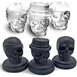 Kidac 3D Skull Ice Cube Moulds Food Grade Silicone Novelty Big Skull Ice Cube Tray Black (Set of 3 Different Detailded Skull Molds)