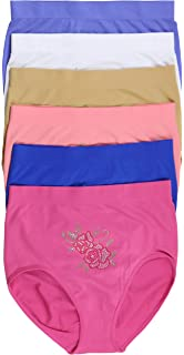1f13095f3ec ToBeInStyle Womens Pack of 6 Plus Size Seamless Flower High Waist Briefs