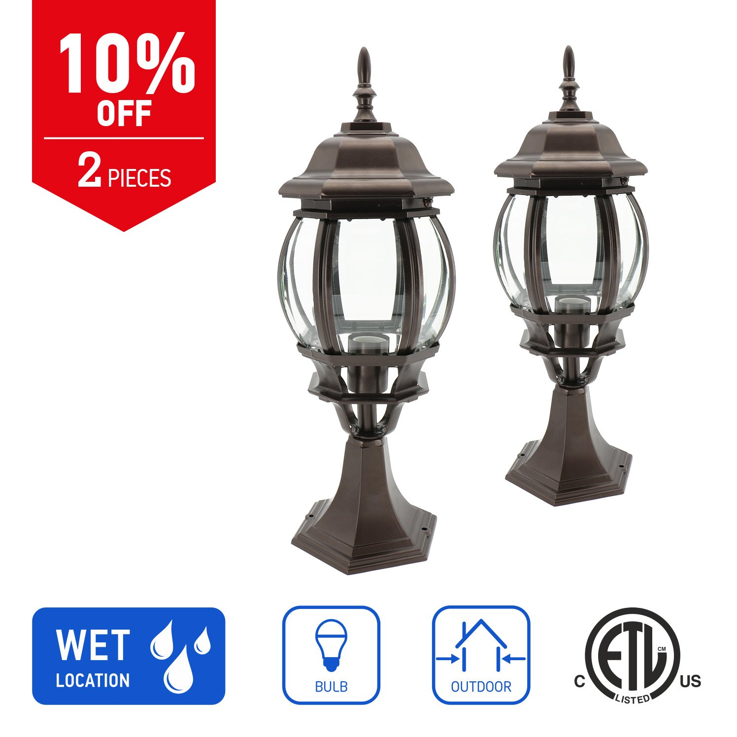 IN HOME 1-Light Outdoor Garden Post Lantern L08 Lighting Fixture, Traditional Post Lamp Patio with One E26 Base, Water-Proof, Bronze Cast Aluminum Housing, Clear Glass Panels, (2 Pack) ETL Listed