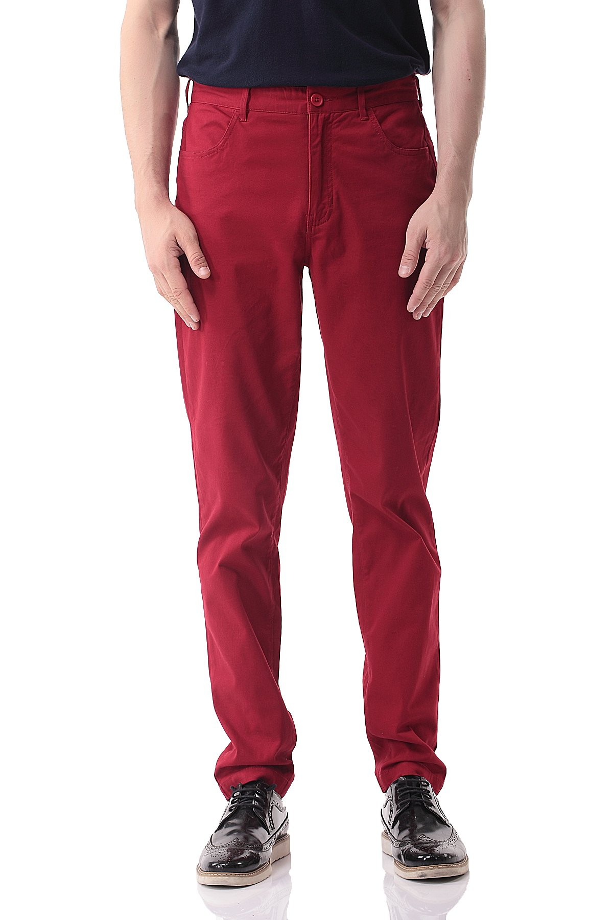 Pau1Hami1ton PH-17 Men's Slim Stretchy Casual Chinos Pants Tapered Work Weekend Office(32,Red)