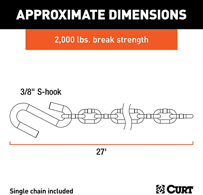 1 Curt Manufacturing 80020 3//16 In X 24 In Safety Chain Assembly Grd 30 Plus J-26