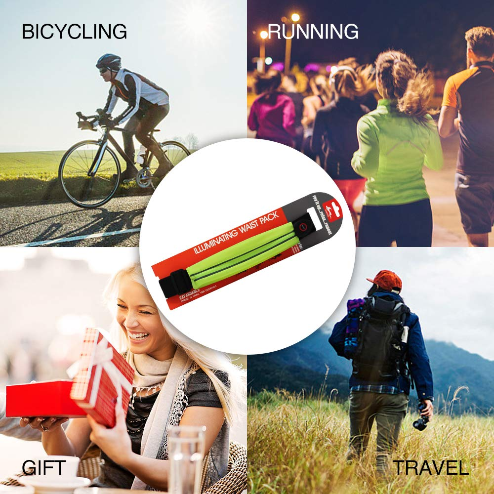 S8 6S XR 8 Noryer LED Running Belt Safety Lights Reflective Waist Fanny Pack with Touch-Sensitive Windows Fit iPhone Xs Max Samsung Galaxy S9 S7 7 S6 case for Running Hiking Walking 6