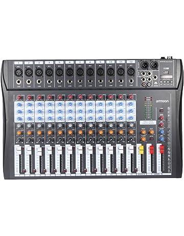ammoon Mesa de Mezclas Mezclador de Audio 12 Canales 120S-USB Mic 3 Bandas de