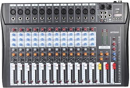 ammoon 120S-USB 12 Canales Mic Mesa de Mezclas Mezclador de Audio ...
