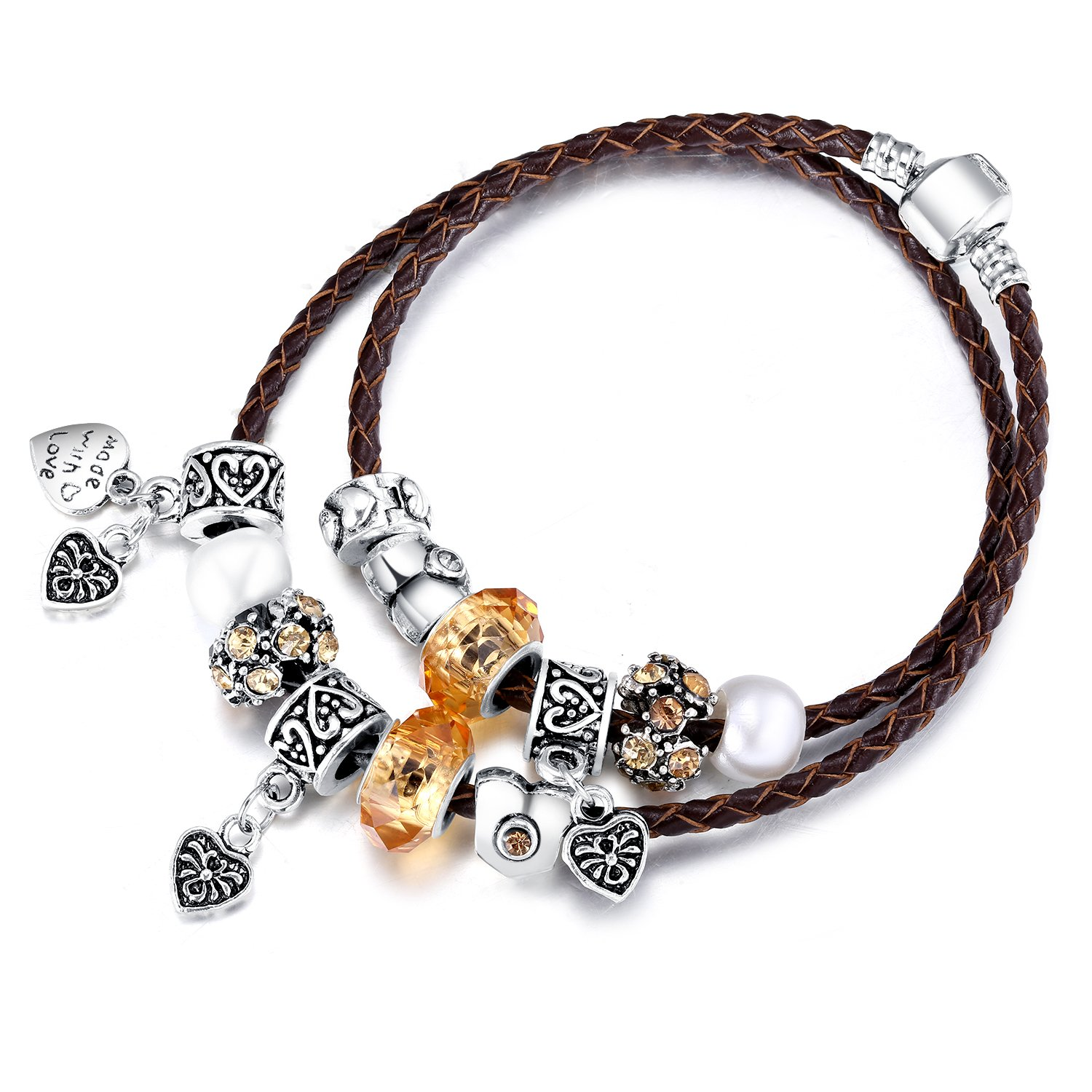 22&Co. FASHION CHOICE Charm Bracelet with Handmade Silver Tone Beads and Genuine Leather Chain