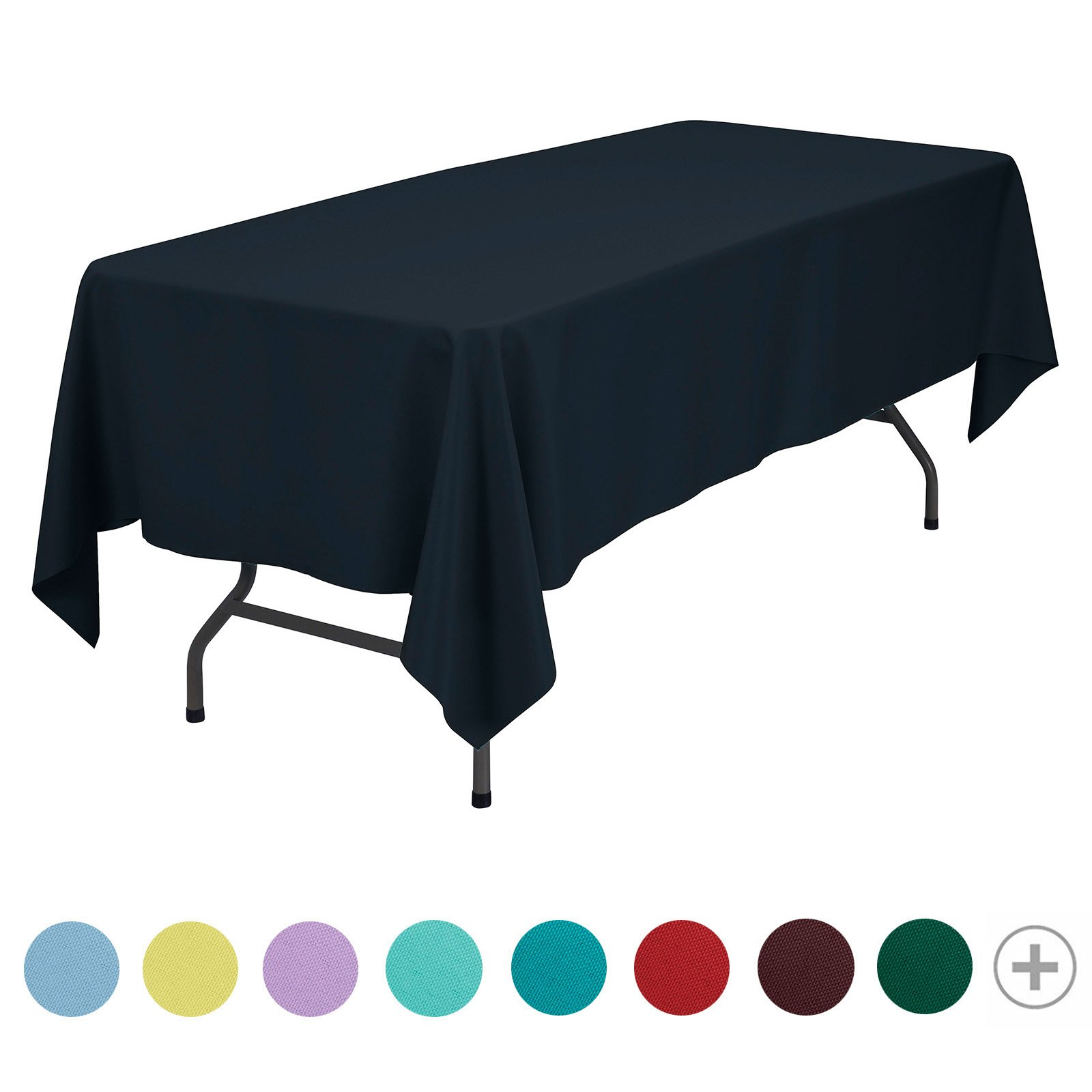 VEEYOO 70 x 120 inch Rectangular Solid Polyester Tablecloth for Home Wedding Restaurant Party Buffet Table Picnic, Navy