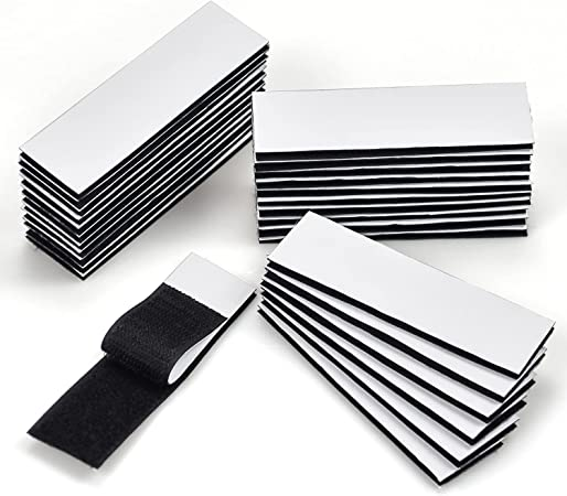 Industrial Strength Hook Loop Strips, 30 Pack Heavy Duty Mounting Tape, Self Adhesive Fastener Sticky Back Double Sided Strips for Home Office(1.2x4inch)