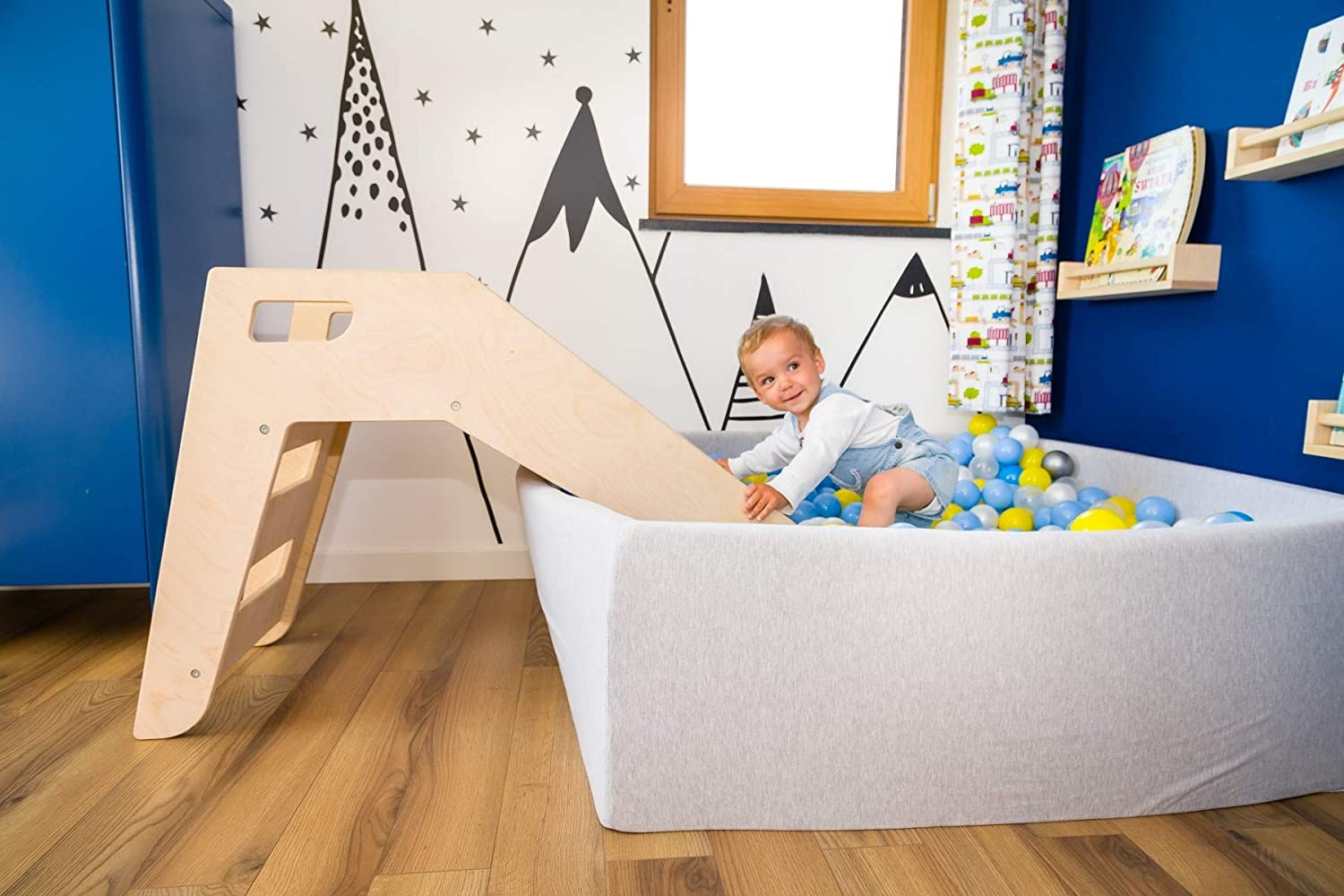 Colour: Natural Modern Scandinavian Style Wooden Slide Great with Ball Pit Outdoor Indoor