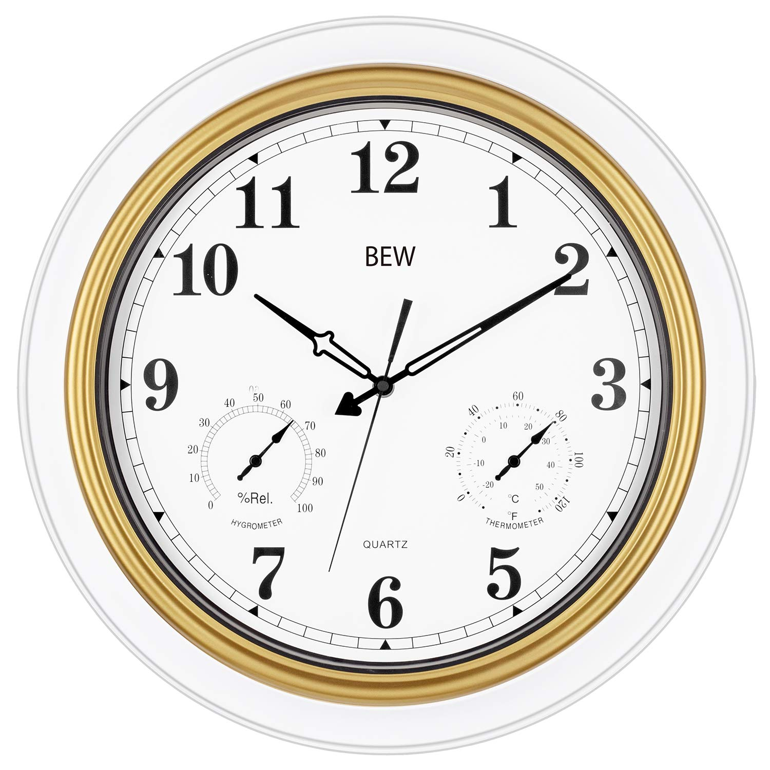 BEW Large Outdoor Clock, 18 Inch Thermometer & Hygrometer Combo, Waterproof & Weather Resisitant Function, Silent Garden Wall Clock for Patio/Pool/Lanai/Fence (Metal, White-Golden)