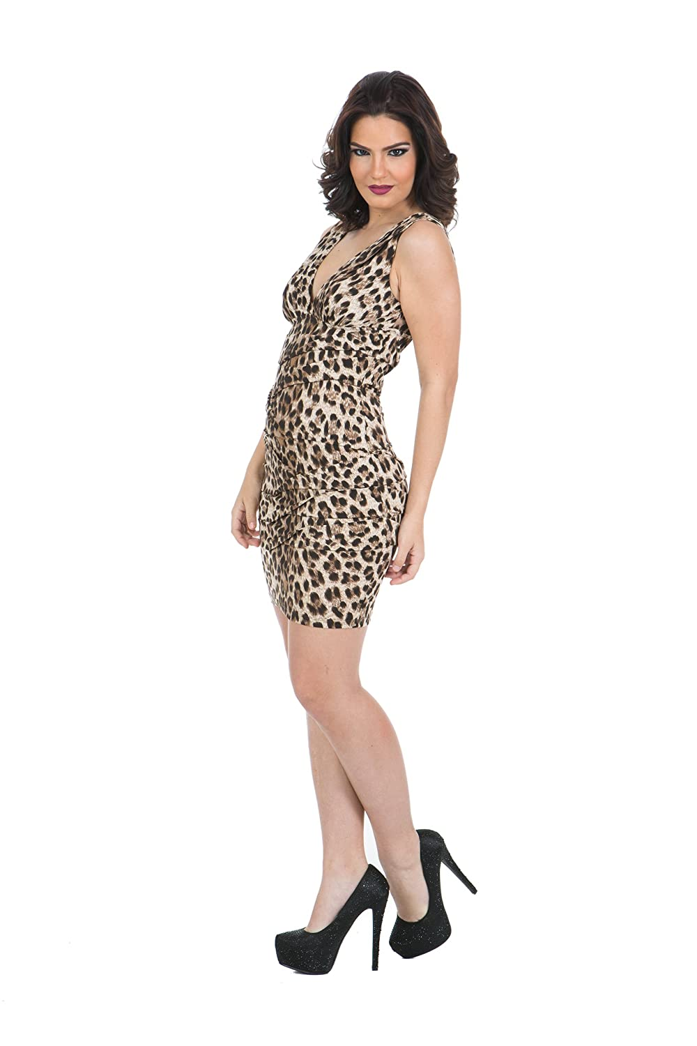 f3361e85f9 Amazon.com  Nikibiki Leopard V-neck Dress Medium  Clothing