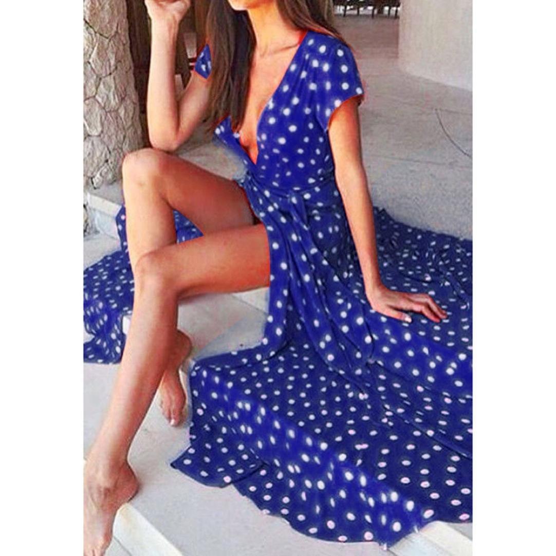 Women Long Dress Daoroka Sexy V-neck Polka Dot Print Spaghetti Split Boho Long Maxi Skirt Cocktail Casual Beach Dress (S, Blue)