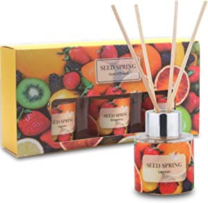 Seed Spring Reed Diffuser Set, Natural Apple Lemon Strawberry Oil Scent Diffuser Sticks Office Home Fragrance Products 1.7oz x 3