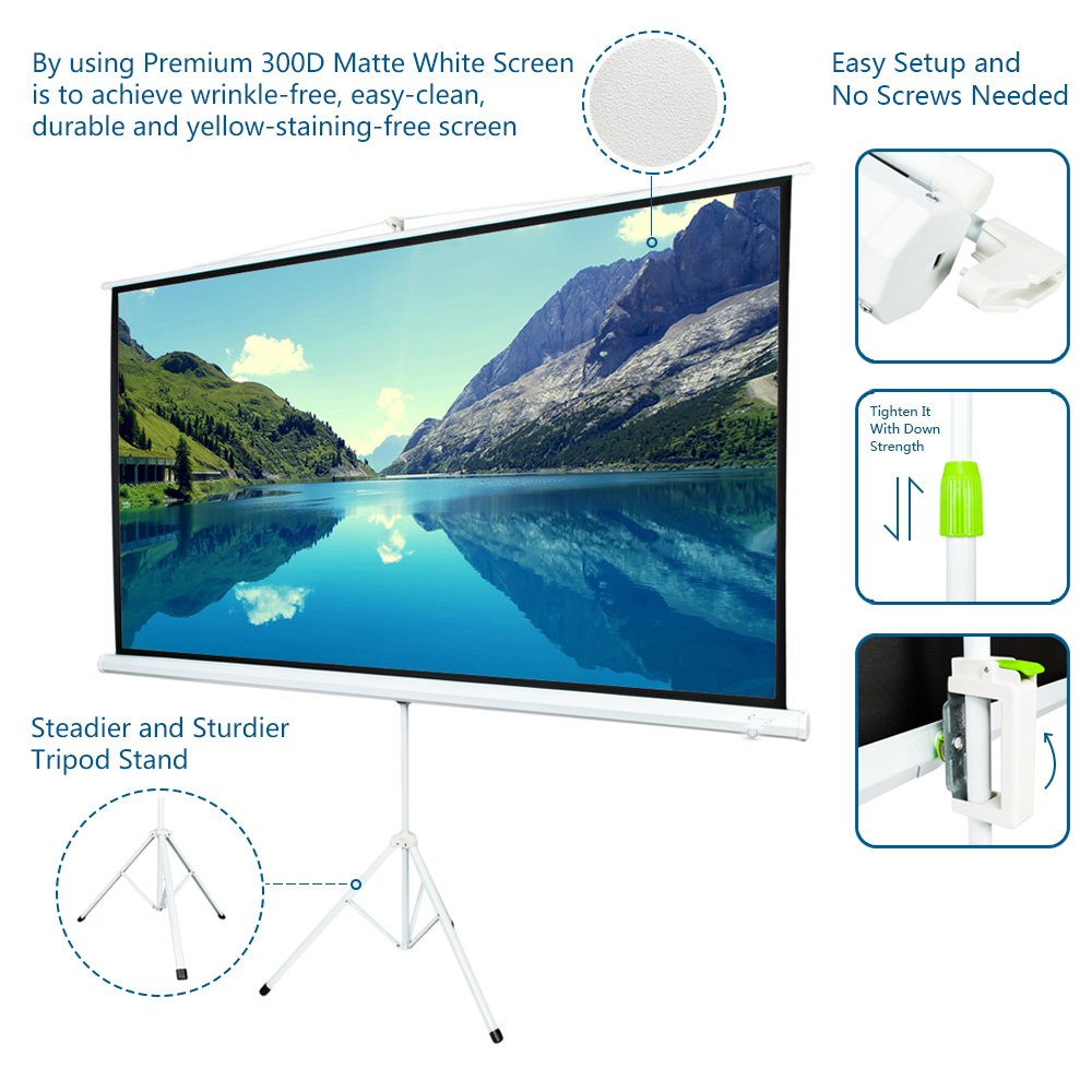 """100/"""" Tripod 16:9 HD Portable Projector Screen Matte Pull Up w// Foldable Stand"""