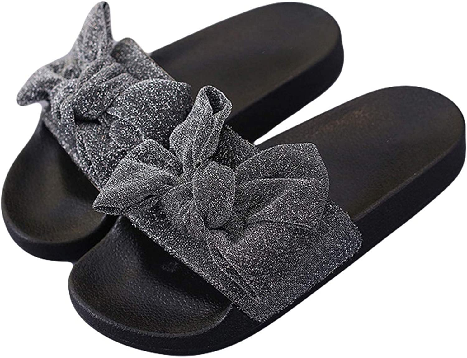 New Summer Women Bow Slides Rihanna Flip Flops Cloth Bow Knot Sandals Flat Thick Bottom Outdoor Indoor Slippers Cute Beach Shoes,Gray,8