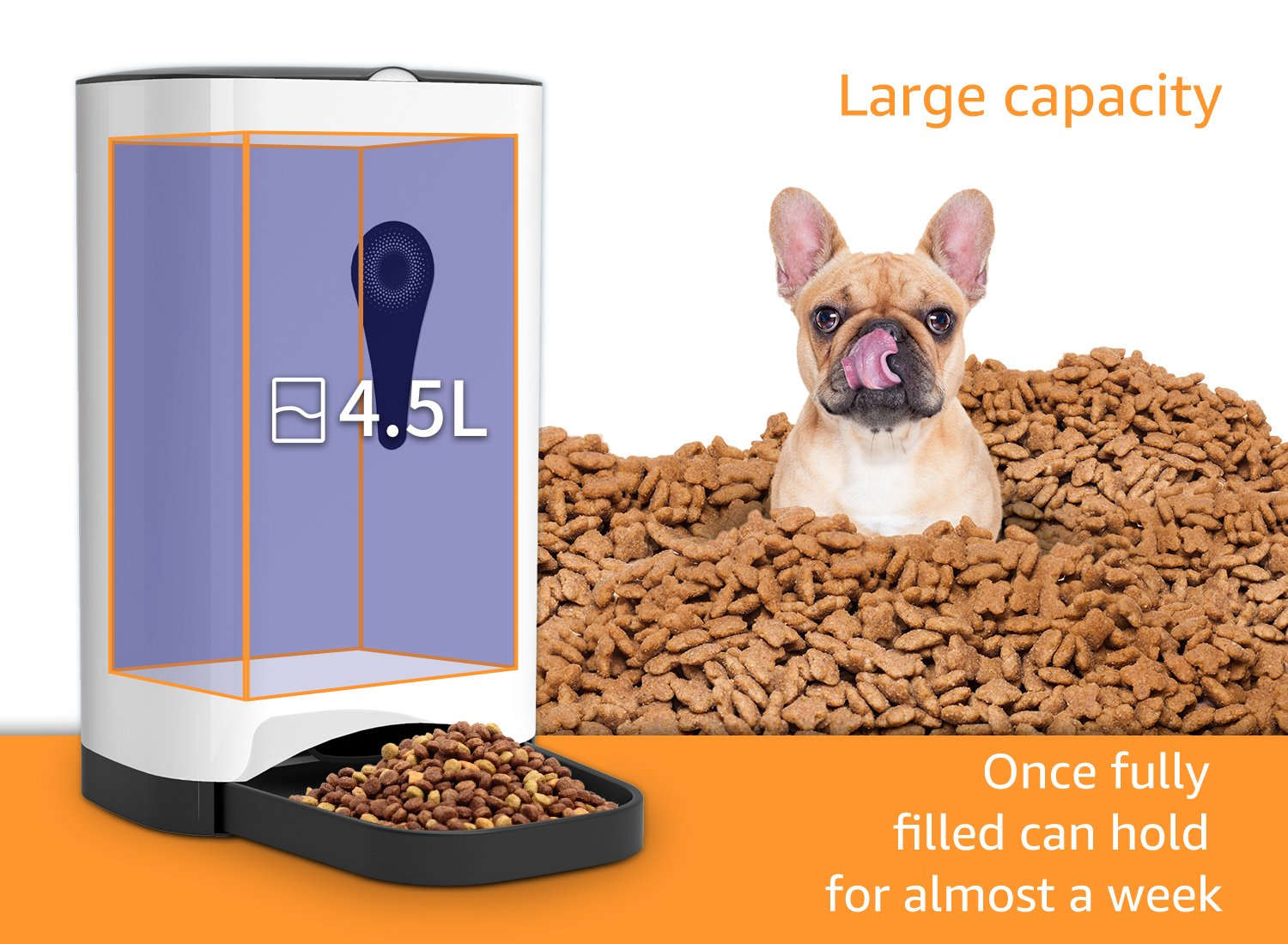 Smart Automatic Cat Feeder - SUKI&SAMI Pet Food Dispenser, with Timer Programmable, Voice Recording, WI-FI Enabled APP control Up to 8 Meals a Day by SUKI&SAMI (Image #3)