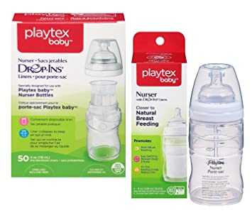 Playtex Drop Ins Premium 4 Ounce Nurser Bottle with Liners & Bonus Baby Haven Reusable Steam