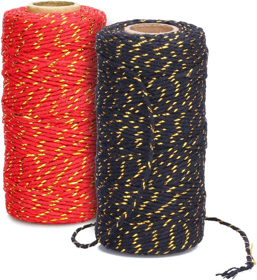 Christmas Twine,2 Mm Cotton Bakers Twine mit Gold Wire Cotton Cord Rope für Gift Wrapping Holiday Twine Wedding Christmas Gift Twine