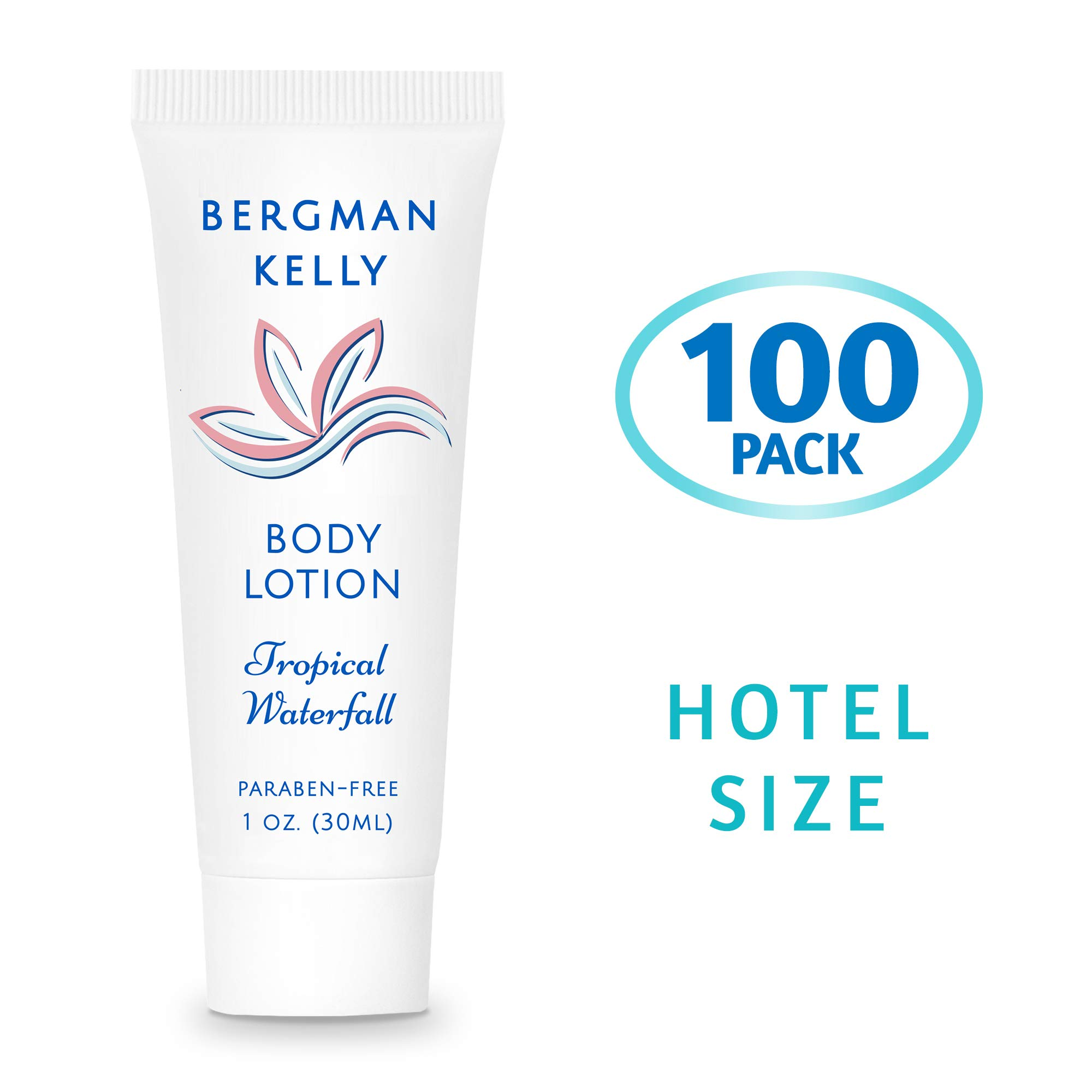 BERGMAN KELLY Travel Size Lotion (1 Fl Oz, 100 PK, Tropical Waterfall), Delight Your Guests with a Invigorating and Refreshing Body Lotion, Quality Mini and Small Size Guest Hotel Toiletries in Bulk by BERGMAN KELLY