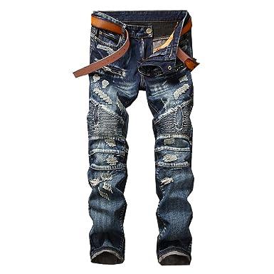 2886cf67 Men's Slim Straight Splicing Vintage Jeans at Amazon Men's Clothing ...
