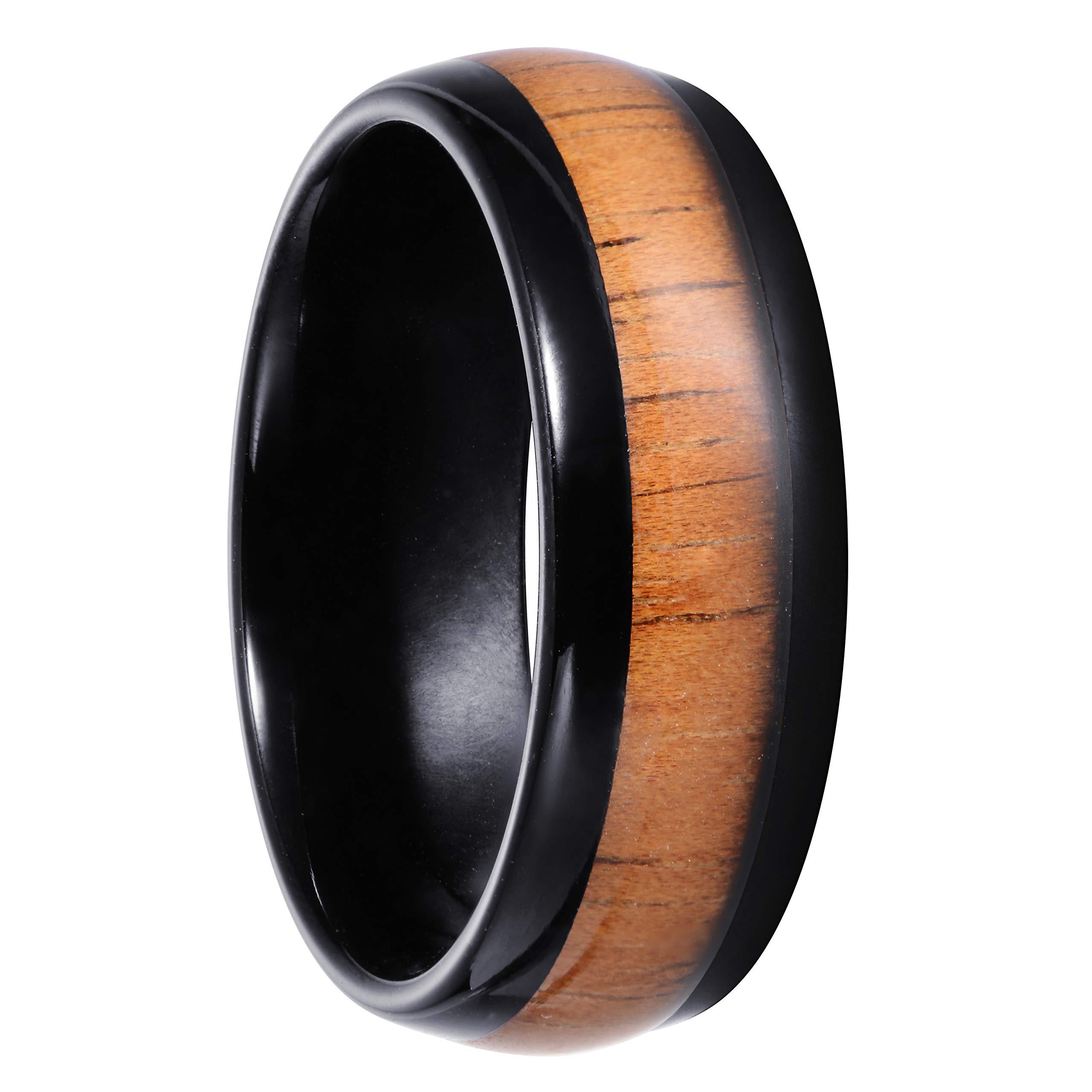 ELGNT Designs 8mm Black Koa Wood Gloss Tungsten Mens Wedding Ring Band | Mens Wedding Band | Engagement Ring | Promise Ring | Size 9.5