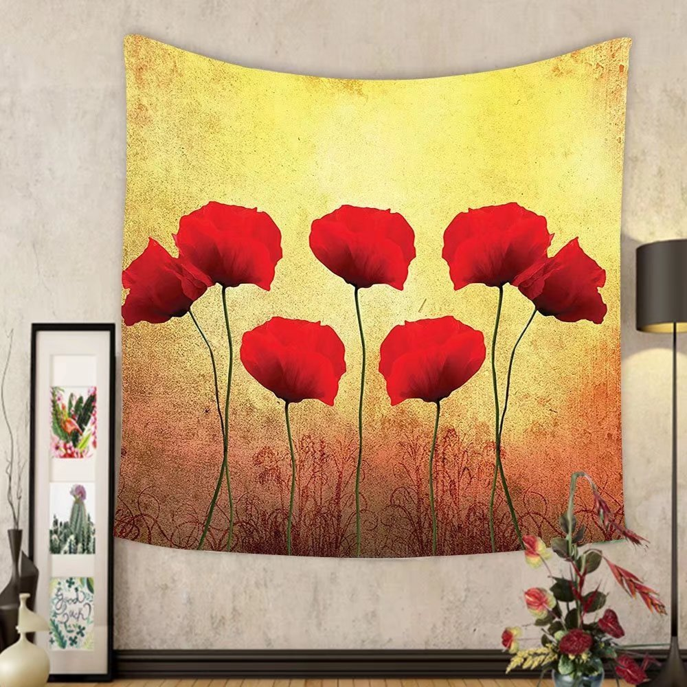 Amazon.com: Gzhihine Custom tapestry Poppy Decor Tapestry Poppies On ...