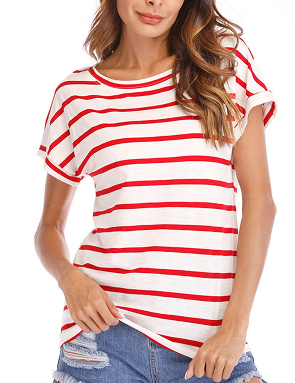 Women's Summer Crew Neck Loose Fit Shirts Short Sleeve Stripe T-Shirts Casual Blouse Tops L Red