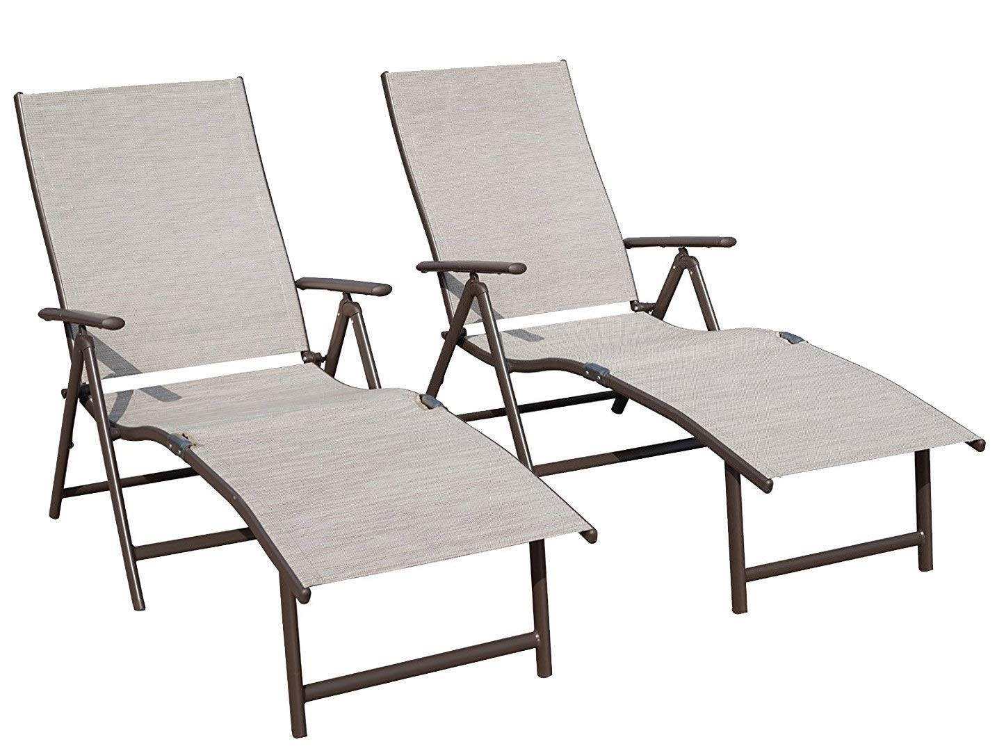 Kozyard Cozy Aluminum Beach Yard Pool Folding Reclining Adjustable Chaise Lounge Chair (Beige,2 Packs)
