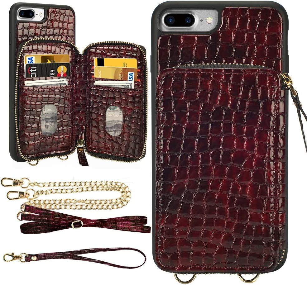 "LAMEEKU iPhone 8 Plus Wallet Case, iPhone 7 Plus Stone Pattern Zipper Card Holder Slot Case with Strap Crossbody Chain, Shockproof Protective Phone Cover for iPhone 8 Plus/7 Plus 5.5""-Wine Red"