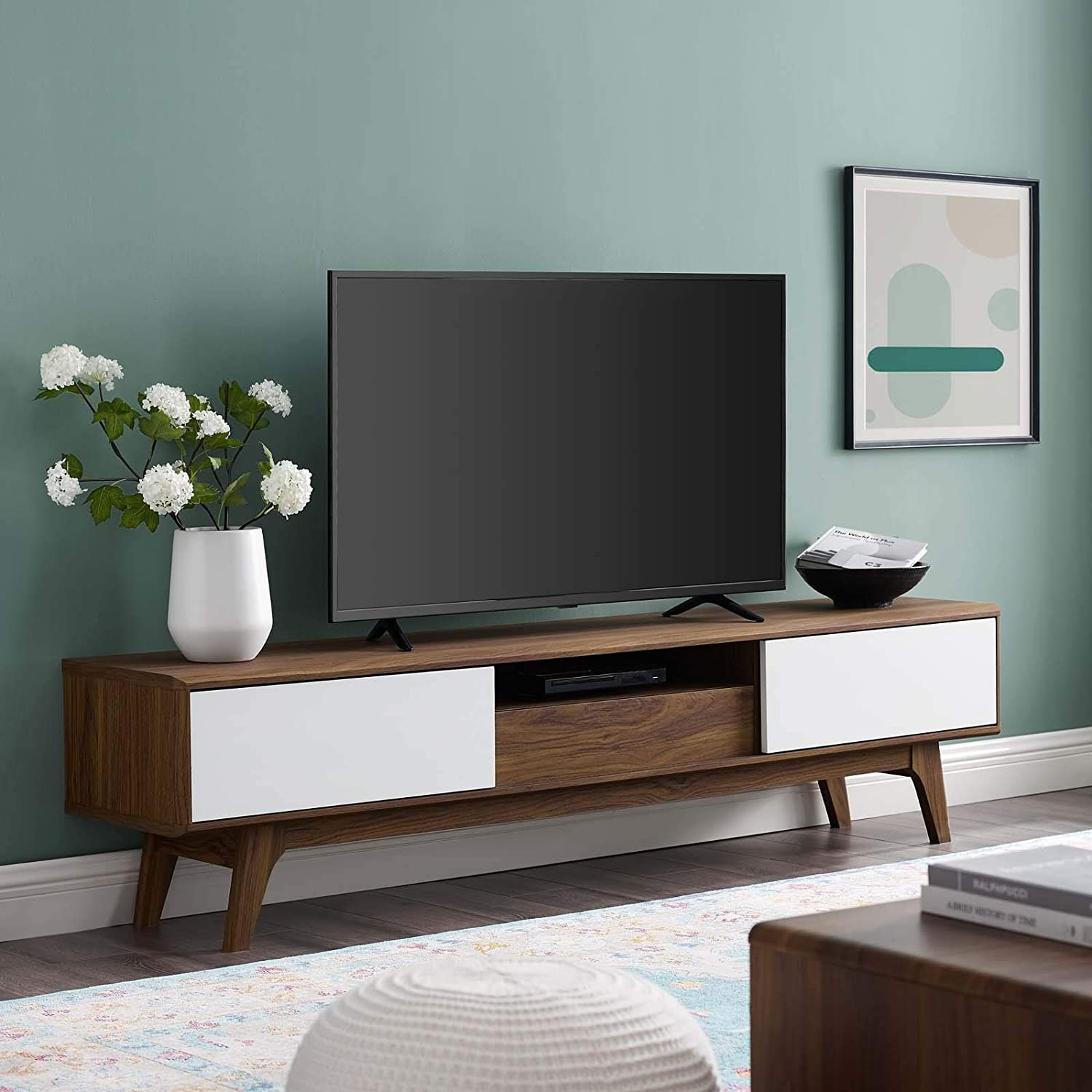"Modway Envision 70"" Mid-Century Modern Low Profile Entertainment TV Stand in Walnut White"