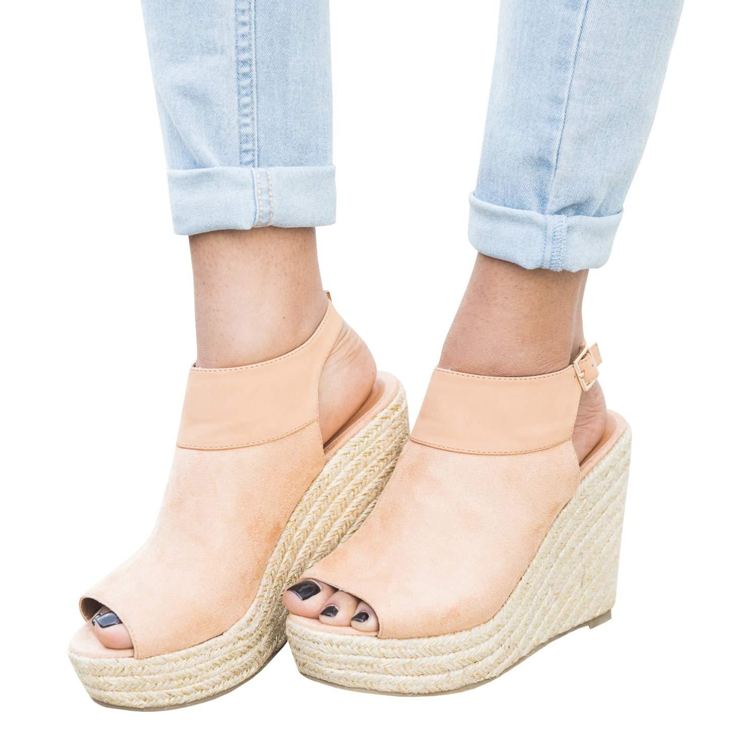Meilidress Womens Platform Wedge Sandals Suede Peep Toe Ankle Strap Buckle Espadrille Shoes