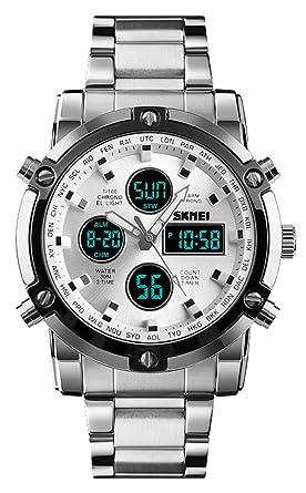 Amazon.com: Reloj deportivo analógico de acero inoxidable ...