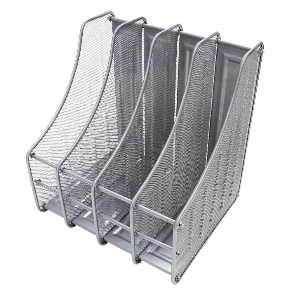 VIZ-PRO Desktop Organizer-Mesh File Magazine Holder, 4 Compartments, Silver Zhengzhou AUCS Co. Ltd.