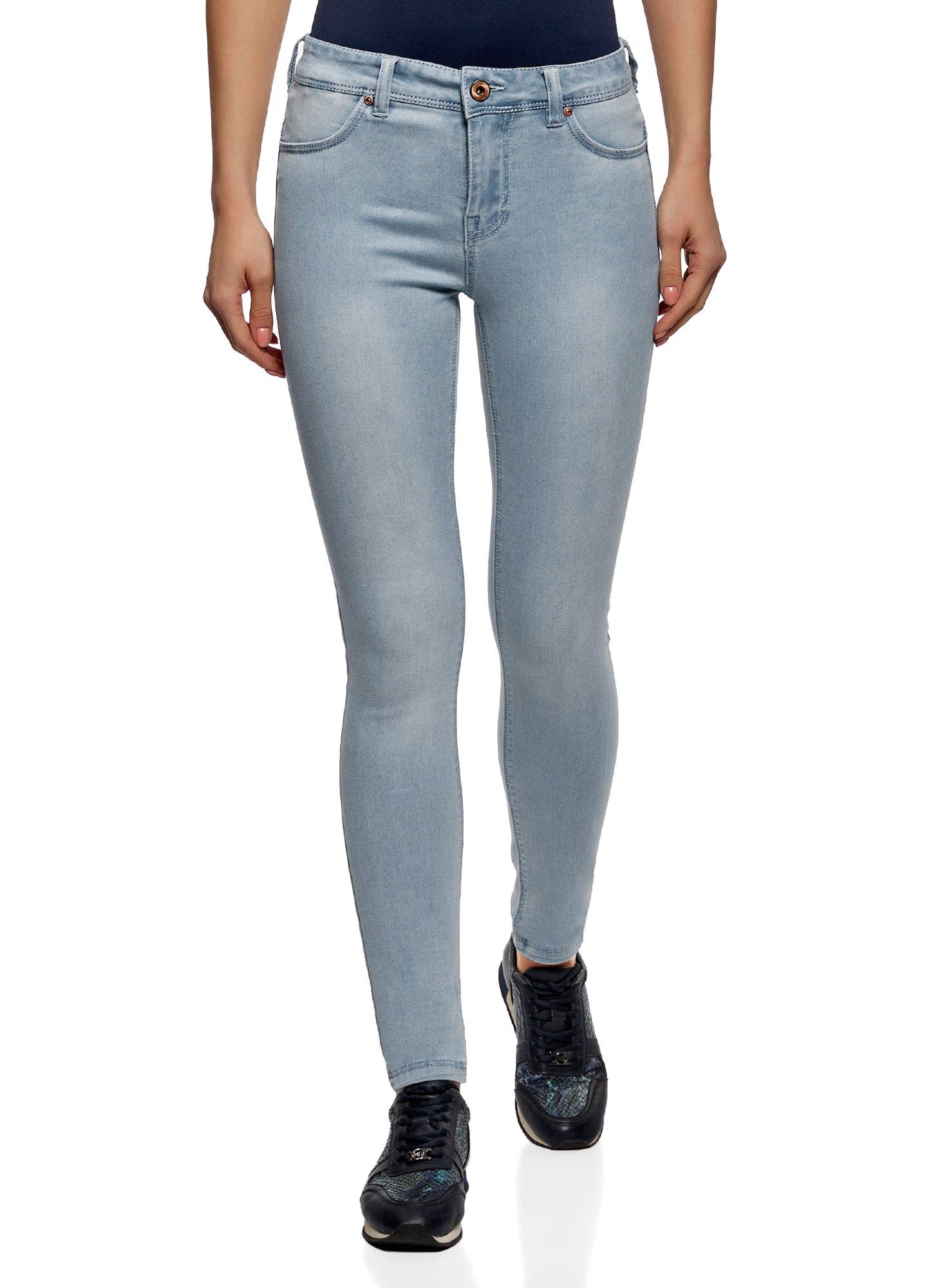 oodji Ultra Women's Skinny Jeans in Soft Fabric, Blue, 28W / 32L (US 6 / EU 40 / M)