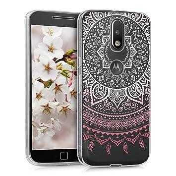 kwmobile Funda para Motorola Moto G4 / Moto G4 Plus - Carcasa de [TPU] para móvil y diseño de Sol hindú en [Rosa Claro/Blanco/Transparente]