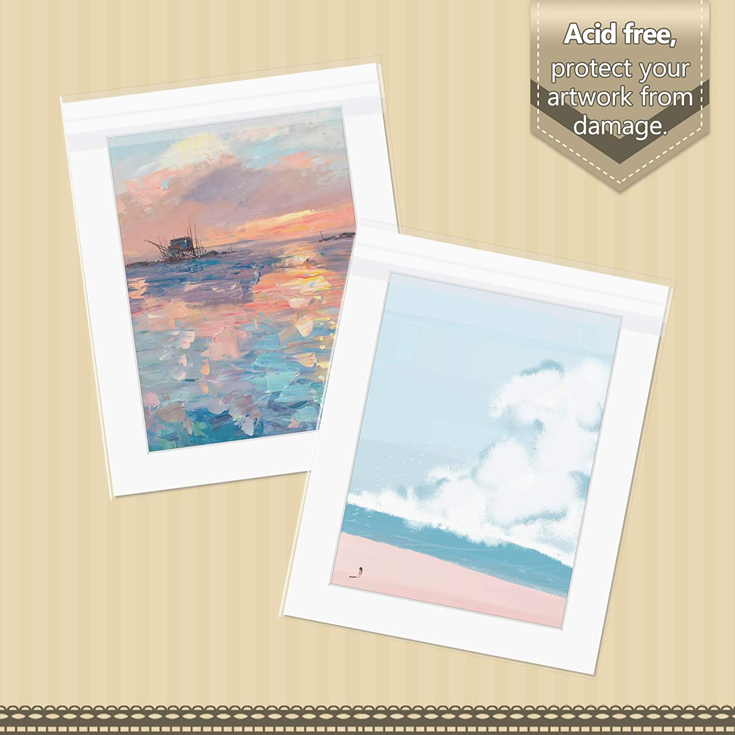Acid-Free 16 3//8x 20 1//8 inches Crystal Clear Sleeves Storage Bags for 16x20 Photo Framing Mats Mattes Pack of 100 Golden State Art