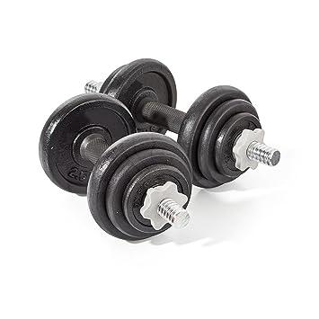 20 kg juego de mancuernas para gimnasio libre pesos bíceps gimnasio sólido mancuerna entrenamiento Fitness formación, cromado, 20 kg: Amazon.es: Deportes y ...