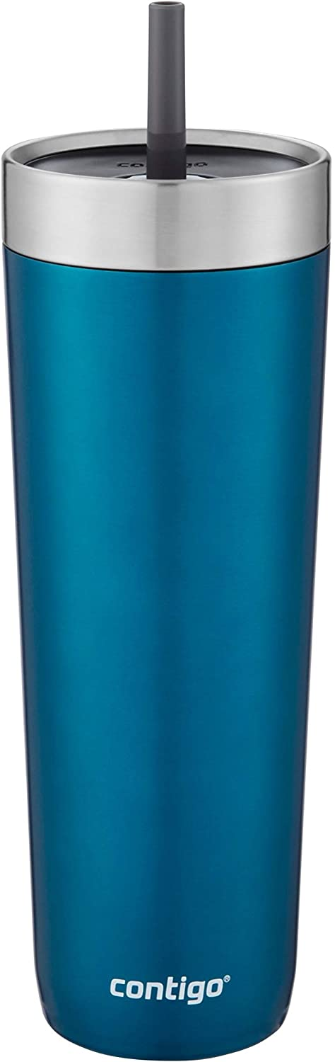 Contigo Luxe Stainless Steel Tumbler with Spill-Proof Lid and Straw   Insulated Travel Tumbler with No-Spill Straw, 24 oz, Biscay Bay