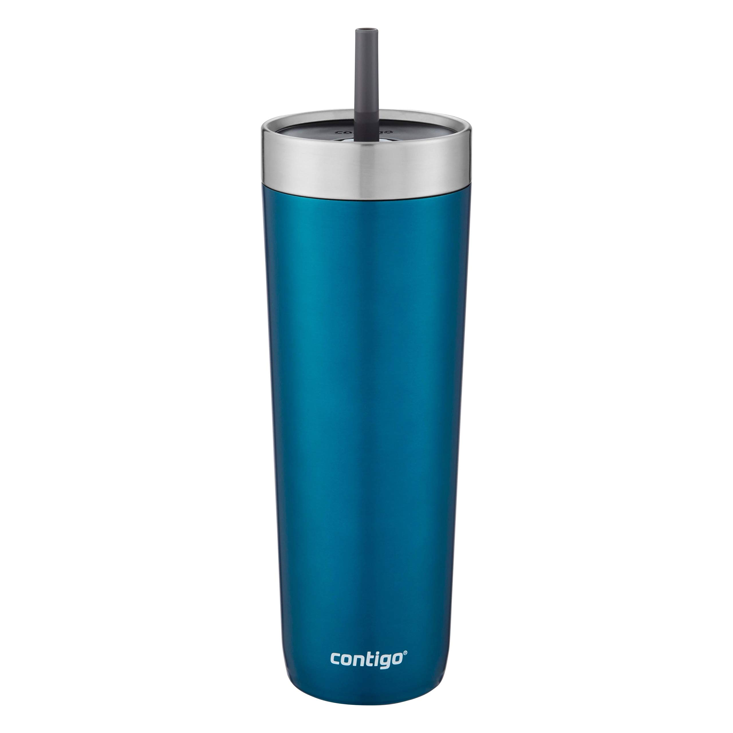 Contigo Luxe Stainless Steel Tumbler with Spill-Proof Lid and Straw | Insulated Travel Tumbler with No-Spill Straw, 24 oz, Biscay Bay by Contigo