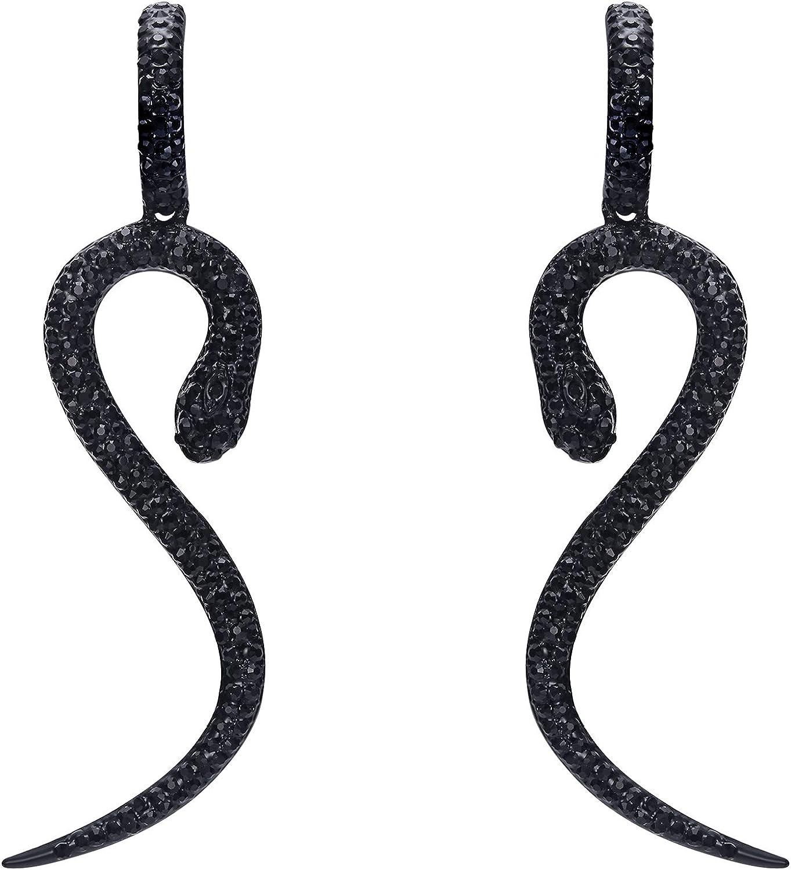 EVER FAITH Mujer Cristal Austríaco Fiesta Encanto Serpiente Animal Perforado Colgante Pendientes
