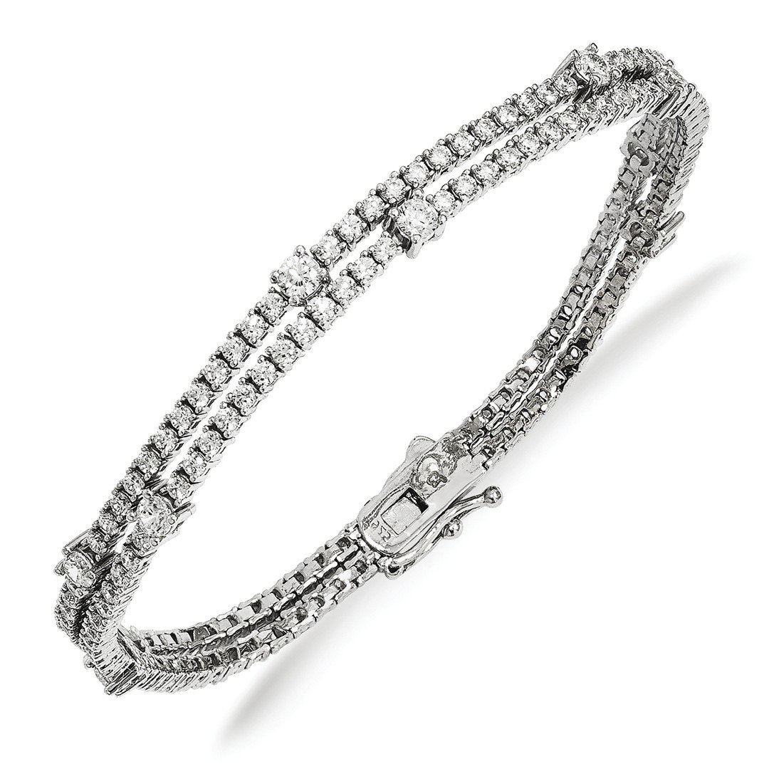ICE CARATS 925 Sterling Silver Cubic Zirconia Cz Double Strand Bracelet 7 Inch Fine Jewelry Gift Set For Women Heart