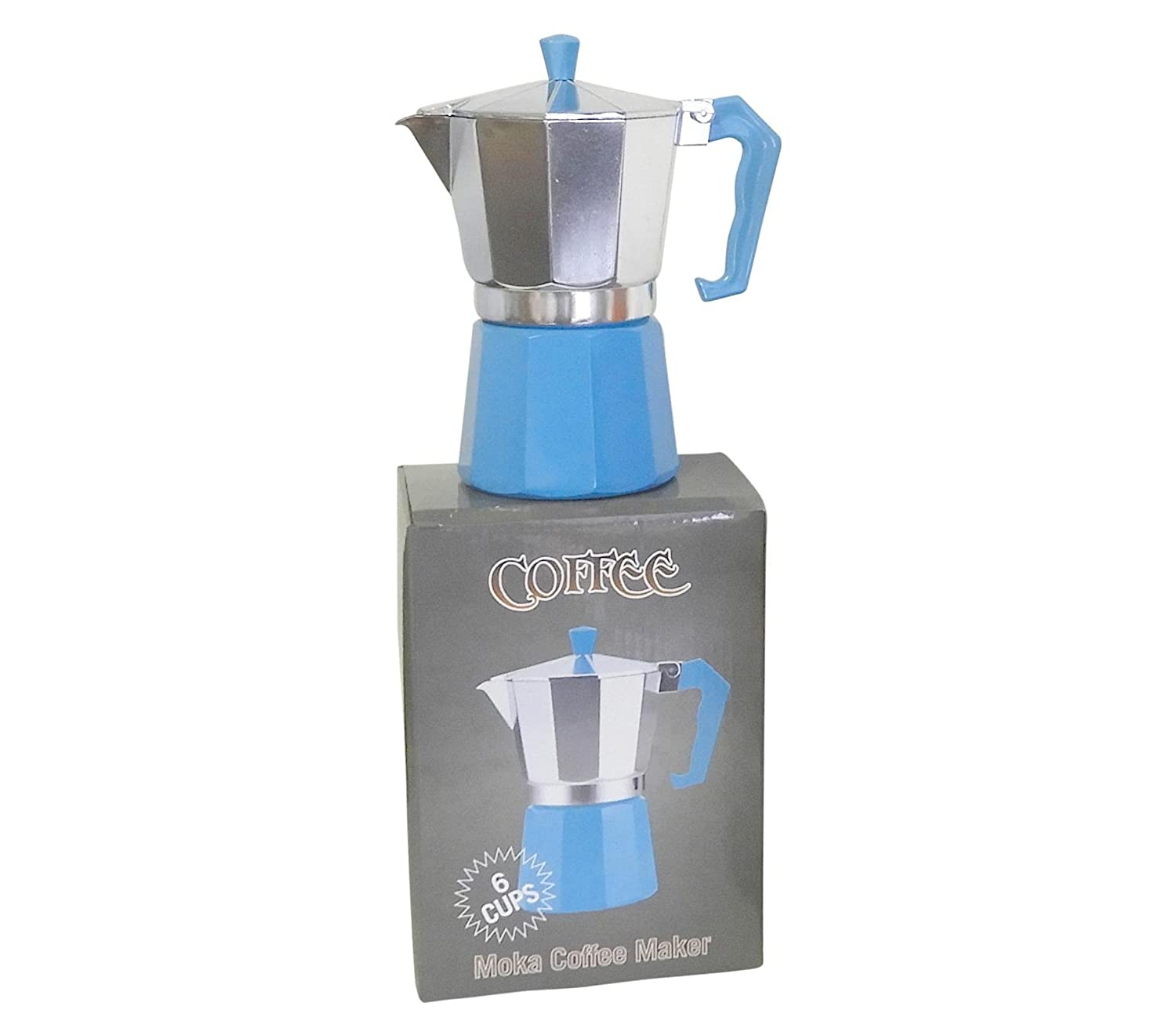 6 Cup Italian Style Expresso Coffee Maker for Use on Gas Electric and Ceramic Cooktops - Looks As Good As It Taste (Blue) Dependable Industries inc 7526-6