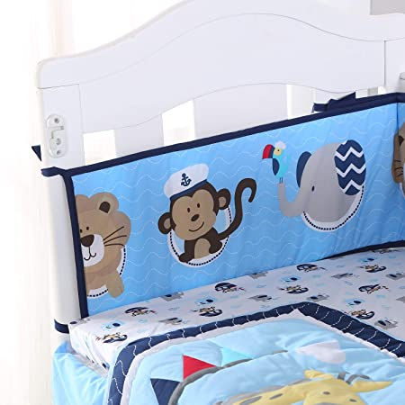 Boats Sea Nursery Bedding For Cot Bed Toddler Bed Duvet Covers Curtains Bumper Shrink-Proof Nursery Bedding Sets